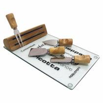 Jogo Para Queijo Ou Frios Tábua De Vidro E Facas - 7852