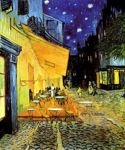 Varanda Café A Noite Céu Estrelas Pintor Van Gogh Tela Repro