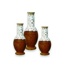 Trio Vasos Cerâmica Enfeite Mesa Miniatura Letícia Marrom