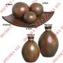2 Vasos Marajo + Enfeite Centro De Mesa C/3 Esferas Ceramica