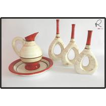 Cerâmica Esmaltada - Conjunto Jarra E Trio De Vasos