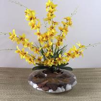 Arranjo De Orquídea Artificial Com Vaso Em Vidro