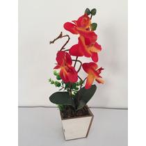 Arranjo De Orquídea Artificial Com Vaso Em Madeira