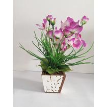 Arranjo De Orquídea Artificial Com Vaso De Madeira