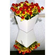 Arranjo De Flores Artificiais Com Vaso Em Madeira 12x8cm