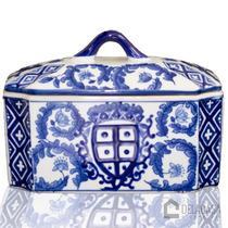 Vaso/pote/potiche De Porcelana C/ Tampa Azul/branco Fl10-527
