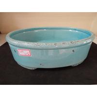 #8136# Vaso Cachepot Porcelana Para Bonsai, Oval Azul!!!