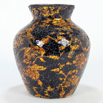 Vaso Mosaico De Vidro Floral Amarelo E Preto 24cm - Bu049