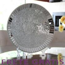 Prato Em Mosaico De Vidro Espelhado Estilo Artesanal - Bu047