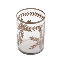 Vaso De Vidro Transparente Com Detalhe Em Marrom