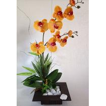 Arranjo De Orquídea Artificial De Silicone Com Dois Galhos