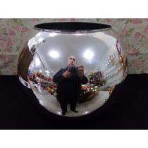 Vaso Cachepot Decorativo Espelhado Em Vidro Aquario 33 Cm
