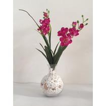Flores Artificiais Em Vaso De Vidro
