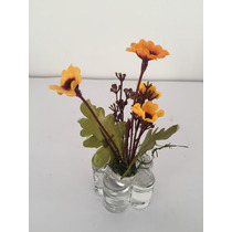 Arranjo Mini De Flores Artificiais Base Flor De Vidro