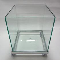 Vaso De Vidro Cachepot Incolor,45x45 Com Roda De Silicone