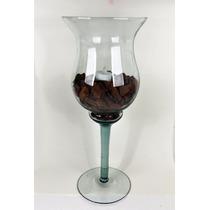 Taça Vaso 41cm Para Decoração Em Vidro Festa Casamento Mesa
