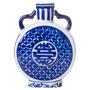 Vaso Com Estampa Azulejo Português Azul Em Porcelana