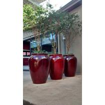Vaso / Cachepot Em Fibra Estilo Cerâmica Vietnamita Vermelho