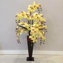 Vaso De Orquídea Amarela De Chão - Sala De Estar