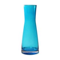 Vaso Colorat Azul Transparente Em Vidro - 25x10 Cm