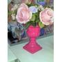 *lote Com Dois Vaso Grego Pink,e Uma Coroa Pink De Porcelana
