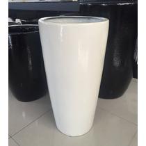 Vaso Cachepot Em Fibra Estilo Cerâmica Vietnamita Off White