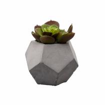 Vaso De Cimento C/ Cactos De Plástico 10cm Lyor 3607