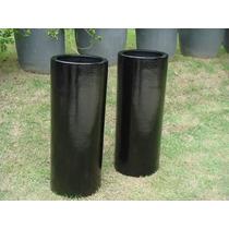 Vaso / Cachepot Em Fibra Estilo Cerâmica Vietnamita Preto