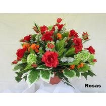 Arranjo Floral - Flores Artificiais De Seda - Centro De Mesa