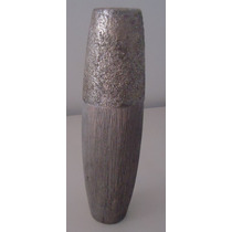 Vaso Cerâmica Grafiato Textura Chumbo Cinza
