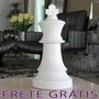 Peça De Xadrez Rei Grande 37cm Em Cerâmica Branca - Bu057