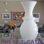 Vaso Grande De Vidro Abaulado Branco Home Com Gravata Bu113