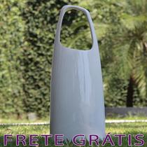 Vaso Em Cerâmica Com Alça Estilo Bolsa Grande Branco - Bu092