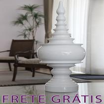 Vaso Cerâmica Com Tampa Branco Estilo Persa Aladim - Bu062