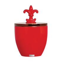 Vaso Pote Vermelho Tampa Madeira Ceramica Mazzotti Sayerlack