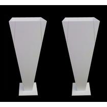 2 Vaso Solitario Branco 22x22x60 - Mdf - Madeira