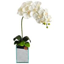 Arranjo Floral Decorativo - Orquídeas Brancas Espelhadas