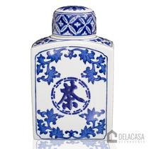 Vaso/pote/potiche De Porcelana C/ Tampa Azul/branco Fl12-679