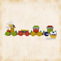 Locomotiva Com Vagao Carga Antiga De Madeira Artesanal