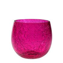 Porta-velas P/ Decoração Em Vidro Craquelado - Pink 08cm