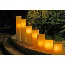 3 Luminária Quadrada Em Parafina Branca 12x20-12x25 - 12x30