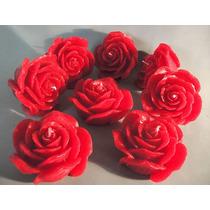Velas Decorativas - Kit Com 6 Velas Formato De Rosa Grande