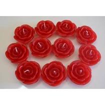 Velas Flutuantes Rosa Vermelha Estojo Com 6 Unidades