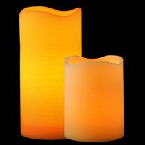 Kit Com 2 Velas De Led Pilar Extra Grandes - 30cm E 20cm