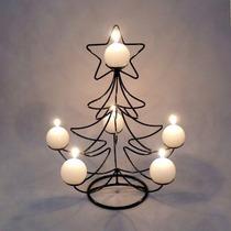Mini Árvore De Natal Em Ferro Com Velas Pinheiro Estrela