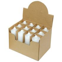 Display Com 24 Mini Velas Votivas Brancas - Não Aromatizadas