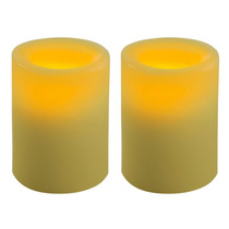 Kit Com 2 Velas De Led Decorativas Brancas Em Parafina Lisa