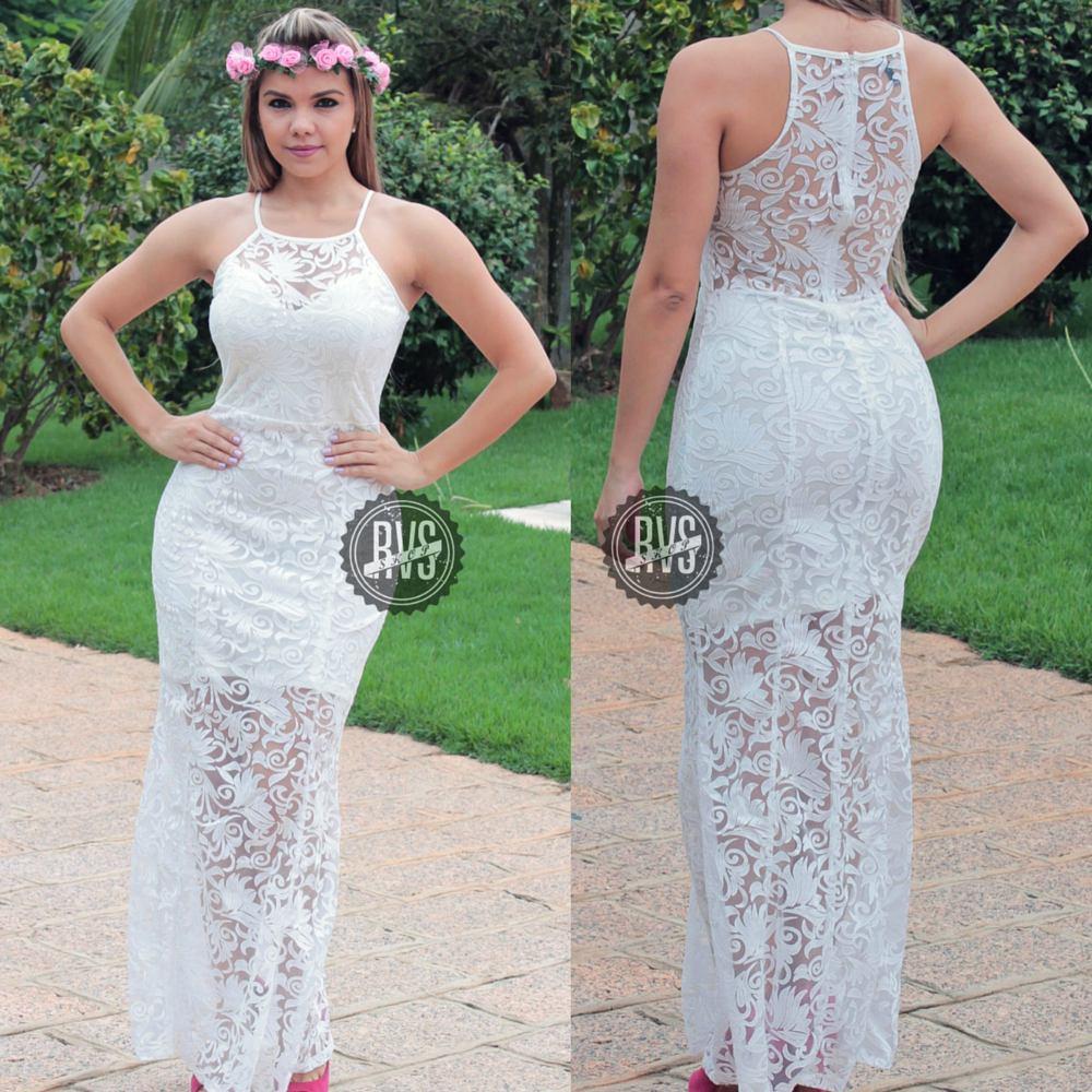 Comprar vestido longo de renda branco