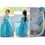 Vestido Filme Frozen Fantasia Elsa Rainha Gelo + Acessórios