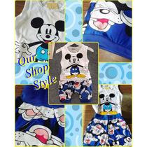 Conjunto Infantil Mickey Importado Tecido Qualidade Regata